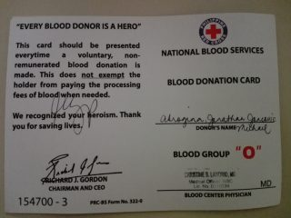 I Was Given Another Blood Donation Card Because Again Lost My Previous One Red Cross